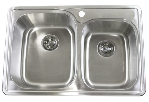 (33 Inch Top-mount / Drop-in Stainless Steel 60/40 Double Bowl Kitchen Sink - 18 Gauge)