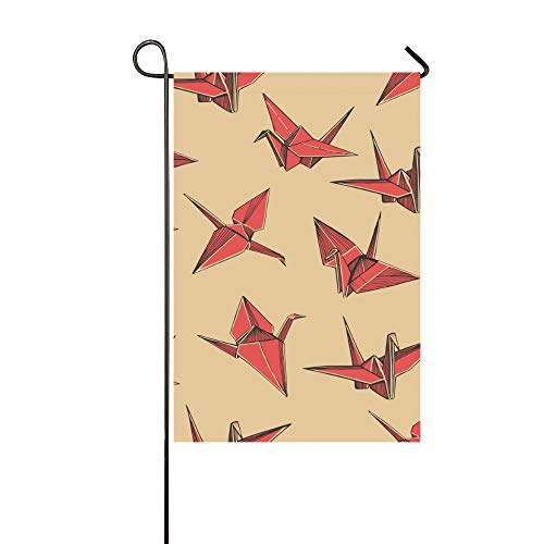 WHIOFE Home Decorative Outdoor Double Sided Paper Crane Wish Gift Toy Hand Made Garden Flaghouse Yard Flaggarden Yard Decorationsseasonal Welcome Outdoor Flag 12 X 18 Inch Spring Summer Gift ()
