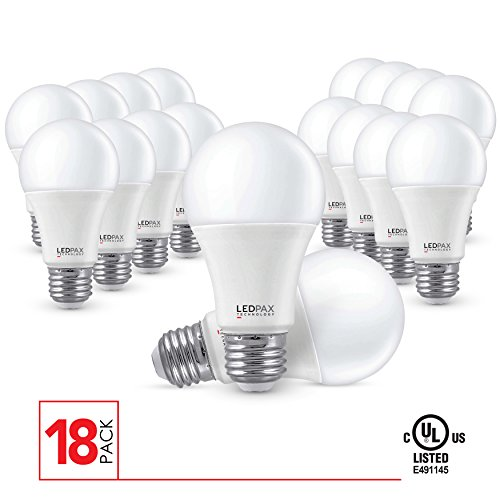 A19 LED Light Bulbs Non Dimmable, 9.5W (60W equivalent), 3000K, 800 Lumens, (18 Pack), UL Listed
