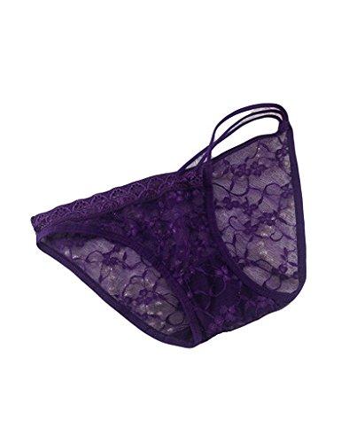 Orlando Johanson New Women's Solid Color Left Strap Lace Panties Purple One Size -