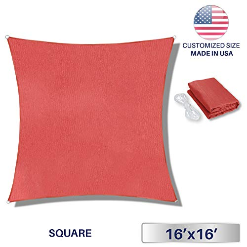 Commercial Grade Green - Windscreen4less 16' x 16' Sun Shade Sail Square Canopy in Rust Red with Commercial Grade (3 Year Warranty) Customized