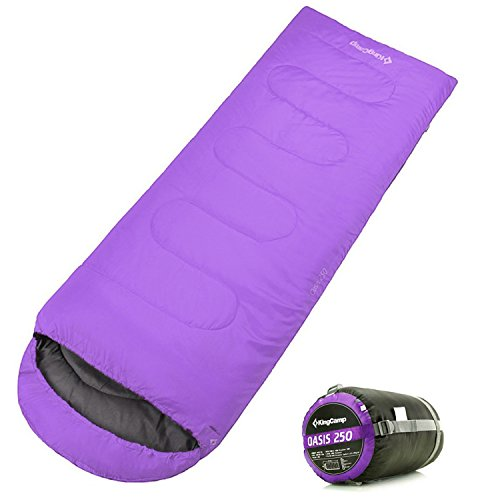 KingCamp Envelope Sleeping Bag 3 Season Lightweight Comfort with Compression Sack Camping Backpack Temp Rating (Extreme Bag)