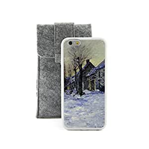 CaseCityLiu - Lavacourt under Snow Claude Monet Oil Painting Design White Bumper Plastic+TPU Case Cover for Apple iPhone 5C Come With FREE Non Woven Packing Bag