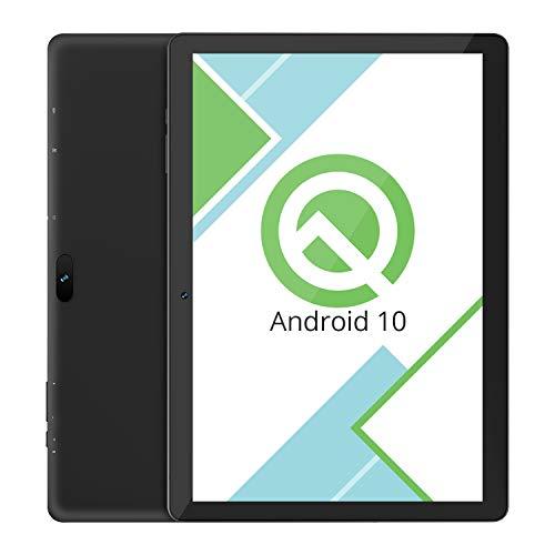 Tablet 10.1-Inch Android 10.0 Wi-Fi - VUCATIMES 32GB ROM Quad-Core Processor IPS HD Display Dual Camera Bluetooth Deep Black