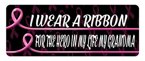 Makoroni - I WEAR A RIBBON FOR THE HERO IN MY LIFE MY GRANDMA Cancer Awareness Car Laptop Wall Sticker