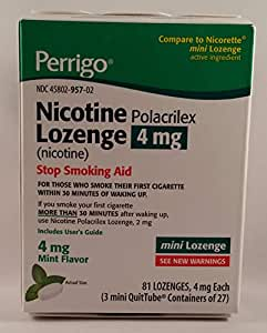 Amazon com: Perrigo Nicotine Polacrilex Mini Lozenge, 4mg