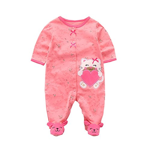 Fairy Baby Baby Boys Girls Footie Pajamas Long Sleeve Animal Print Sleep Play Romper Size 9-12M (Rose red ()