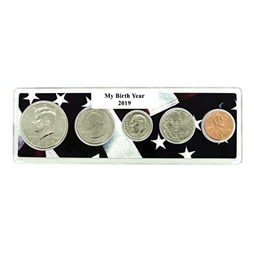 2019-5 Coin Birth Year Set in American Flag Holder - Set Holder Coin