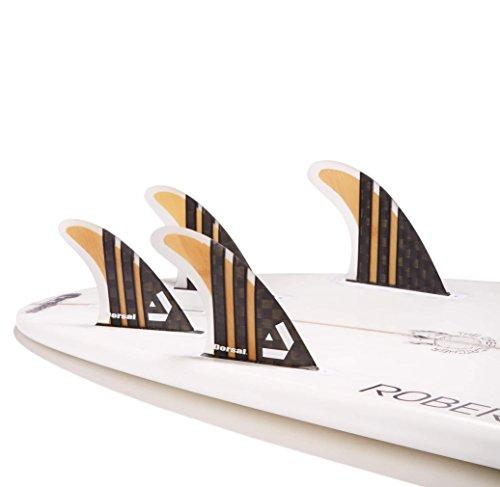 Dorsal Surfboard Fins Carbon Bamboo Quad Set (4) Honeycomb FUT Base by Dorsal