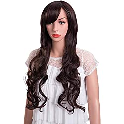 MelodySusie Dark Brown Long Curly Wig - High Quality Fascinating Women Long Curly Wig with Free Wig Cap (Dark Brown)