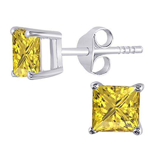 Yellow Sapphire Star (14K White Gold Finish 5 MM Princess Cut Created Yellow Sapphire Stud Earrings 1 Ct)