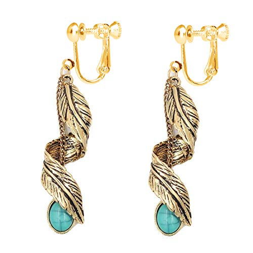 Women Bohemian Tribal Vintage Dangle Clip on Earrings With Turquoise Bead Inlay Nickel Free Gold tone