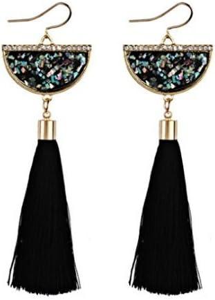 Las mujeres pendientes mujeres Retro estilo /étnico Ventilador Forma Tassel Dangle Pendientes Largo borlas pendientes de flores pendientes