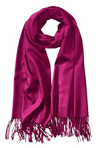 MBJ Shawls and Wraps Elegant Cashmere Scarfs for Women Stylish Warm Blanket Solid Winter Scarves OneSize Magenta
