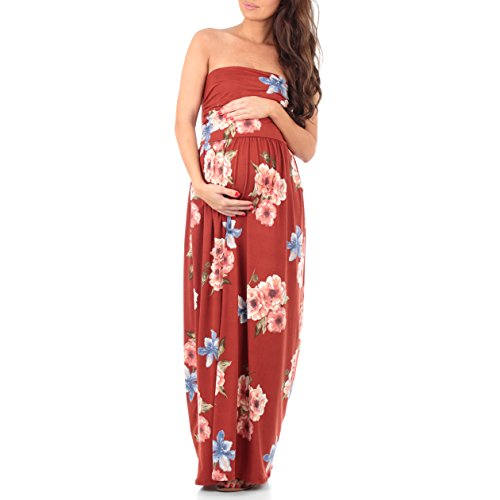 Dress Couture Womens (Women's Strapless Ruched Maxi Tube Maternity Dress with Pockets by Rags and Couture - Made in USA)