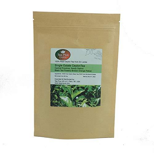 Ceylon Black Tea FBOP Single Estate Kenilworth Loose Leaf Tea from Sri Lanka Pouch 2oz (Kenilworth Estate Tea)