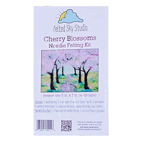 Wool Landscape Cherry Blossoms Needle Felting Kit DIY Feltscape