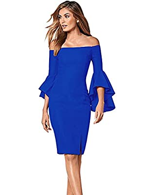 VfEmage Womens Flare Sleeve Sexy Off Shoulder Cocktail Party Bodycon Dress