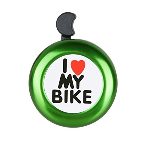Bicycle Bell Aluminum Bike Bell Ring - ' I Like My Bike' Bike Horn of Mountain Bike Road Bike Exercise Bike Accessories for Adults Men Women Kids Girls Boys Bikes - Green