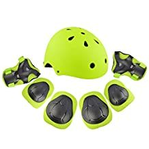 7Pcs Kids Sports Safety Protective Gear Set, RuiyiF Elbow Pad Knee Support Wrist Guard and Helmet for Children Skateboard Skating Blading Cycling Riding - Green