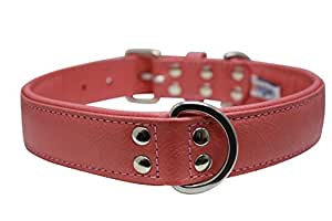 "Leather Dog Collar, Padded, Double Ply, 24"" x 1.25"", Pink, Leather (Alpine) Shepherd, Lab, English/American Bulldog"