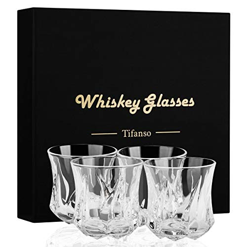 Whiskey Glass, Tifanso Set of 4 Scotch Glasses, Rock Style Old Fashioned Thick Weighted Bottom Crystal Tumblers with Luxury Gift Box, Perfect for Bourbon and Old Fashioned Cocktails