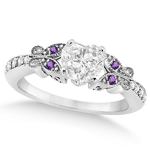 Butterfly Heart Shaped Diamond and Amethyst Engagement Ring 14k White Gold (1.00ct)