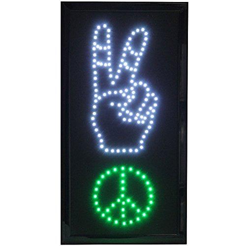 Funky 70s Peace Sign - United Joy USA Peace Sign LED Lighted Wall Décor - Groovy 18.75