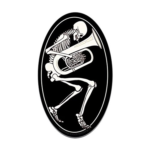 CafePress Tuba Skeleton Oval Bumper Sticker, Euro Oval Car Decal