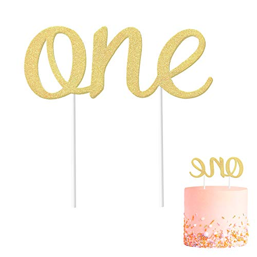 Gold 1st Birthday Topper, Double Sided Glitter, Number One Cake Topper Decoration, One Year Bday Party Decor for Girls and Boys, Couples And Marriage First Anniversary -