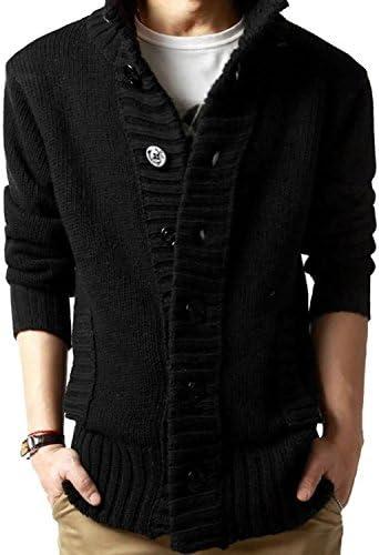 SHEYA カーディガン メンズ ニット カーデ ゆったり着れる 大きいサイズ セーター ガウン ポケット ロング 春 秋 冬 メンズ カーディガン 6色 (ブラック(XL))