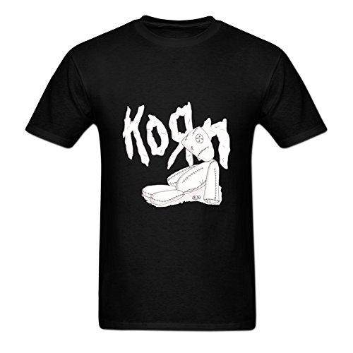 Anydover Mens Hip-Hop Front Printed Korn Doll Graphic Crewneck T-Shirt L Black (Korn Printed T-shirts)