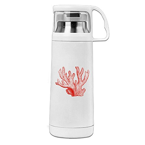 Karen Garden Red Coral Stainless Steel Vacuum Insulated Water Bottle Leak Proof Handled Mug White,12oz