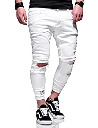 BEHYPE Men's Jeans Pants with Destroyed effect and Ripped Knees JN-3605