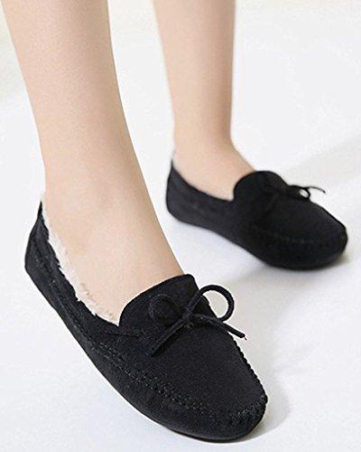 Minetom Mujer Otoño Calentar Plano Zapatos Suave Peluche Forro Mocasines Shoes Zapatos Del Barco Con Bowknot Negro