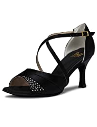 JIA JIA J20522 Women's Satin Sandals Flared Heel Latin Salsa Performance Dance Shoes
