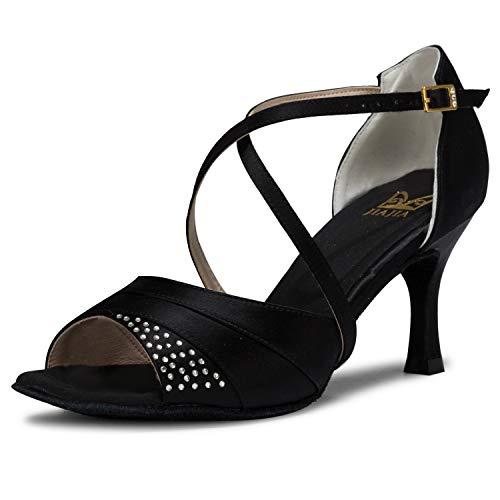 6b903d113f254a JIA JIA J20522 Women's Satin Sandals Flared Heel Latin Salsa Performance  Dance Shoes Color Black,