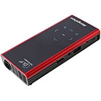 Mengshen Portable Mini Rechargeable DLP Projector Support Wifi 1080p Android 4.2.2 System Compatible with iPhone Andorid Phone Laptop PC Mobile LED Projector MS-E06S(Red)