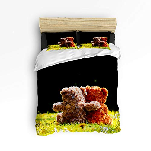 YEHO Art Gallery King Size 4 Piece Duvet Cover Sets for Kids Boys Girls,Cute Teddy Bears Valentine's Day Bedding Set for Christmas,1 Flat Sheet 1 Duvet Cover and 2 Pillow Cases