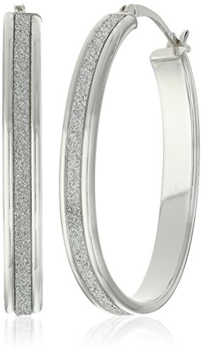 Sterling Silver Glitter Oval Hoop Earrings (23mm)