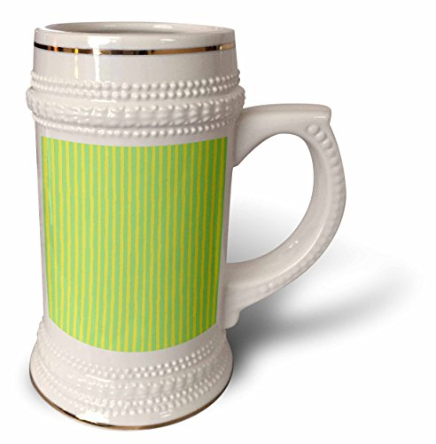 ugh - Stripes - Bright Yellow and Green Hand Painted Uneven Stripes - 22oz Stein Mug (stn_283196_1) ()