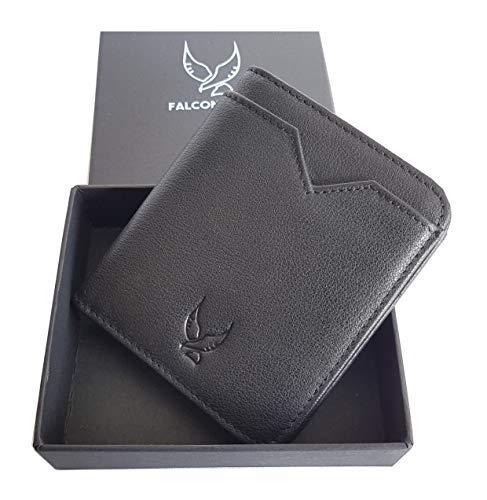 Falcon Vault RFID Blocking Bifold Men's Slim Genuine Italian Leather Wallet in Black