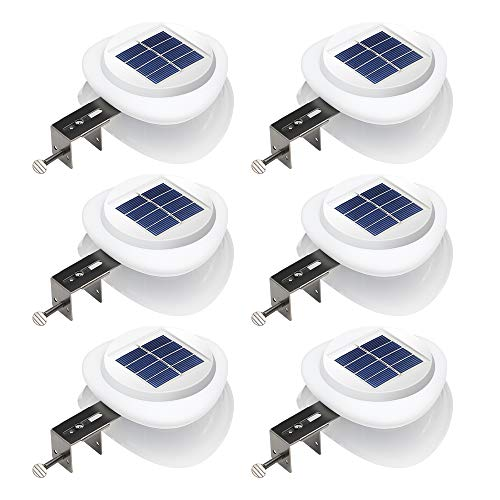 DBF Outdoor Solar Gutter Lights?Upgraded Version?Solar Fence Post Lights Wall Mount Decorative Deck Lighting with Auto On/Off Dusk to Dawn (Pack of 6)