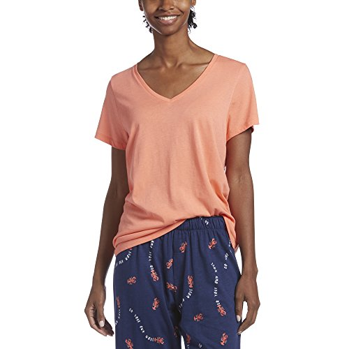- HUE Women's Short Sleeve V-Neck Sleep Tee, Fusion Coral, X-Large