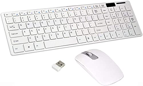 Arovita Wireless Keyboard and Mouse Combo – Full Size Slim Thin Wireless Keyboard Mouse with Numeric Keypad with On/Off Switch on Both Keyboard and Mouse – White & Silver Brand: Crown Town