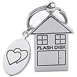 ANGROC 5PCS Folding Metal House Shaped USB 2.0 8GB USB Flash Drive Memory Stick Fold Storage Stick Pen(Pack of 5, Silver)