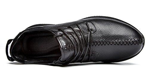 TDA Mens Trendy Manual Sews Leather Running Sneakers Black 0Hdunr