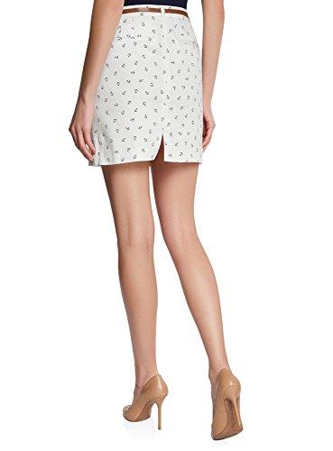 oodji Ultra Mujer Falda Corta de Algodón con Cinturón Marfil (3029O)