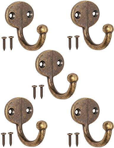 Antik Ganchos Perchero de Ganchos de Toalla Ganchos para ropa de hierro fundido lat/ón bronce Dise/ño de Vintage r/ústico Retro Juego de 5 FUXXER/®