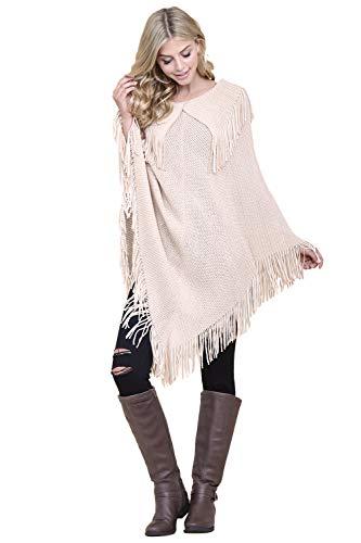 (Classic Soft Knit Poncho Shawl Wrap - Basic Warm Pullover Fringe Tassel Sweater Chunky Crochet, Plain (Fringe Collar - Light Beige))